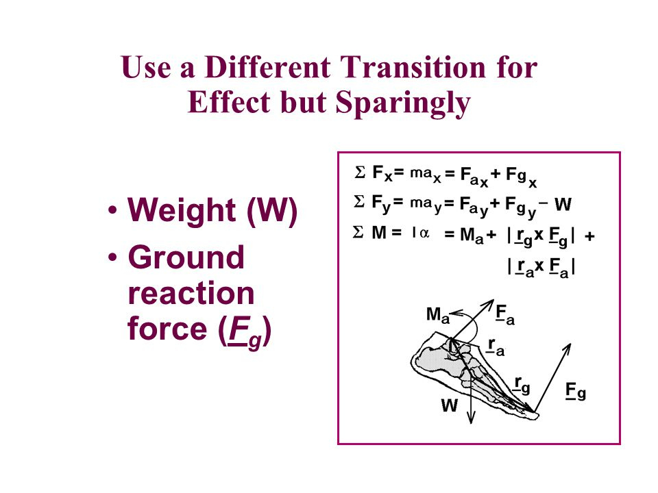 Transitions should be Simple and Consistent Weight (W) Ground reaction force (F g )