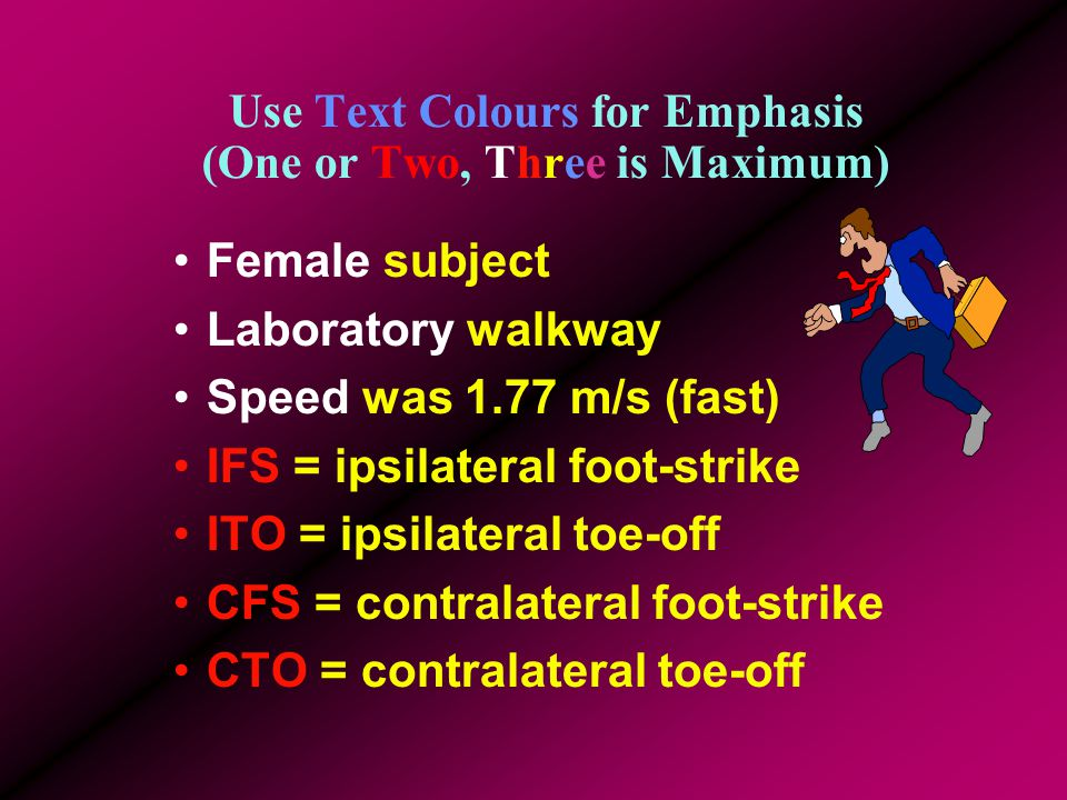 Others use San Serif for body but Serif for Headings Female subject Laboratory walkway Speed was 1.77 m/s (fast) IFS = ipsilateral foot-strike ITO = ipsilateral toe-off CFS = contralateral foot-strike CTO = contralateral toe-off
