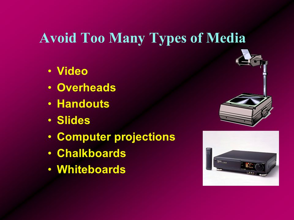 Multimedia Items Add Interest but Create Large Files Be sure the file is included with your presentation Zip disks, CD- ROMs and USB (Pen) drives can hold large files Keep the clip short and allow continuous play