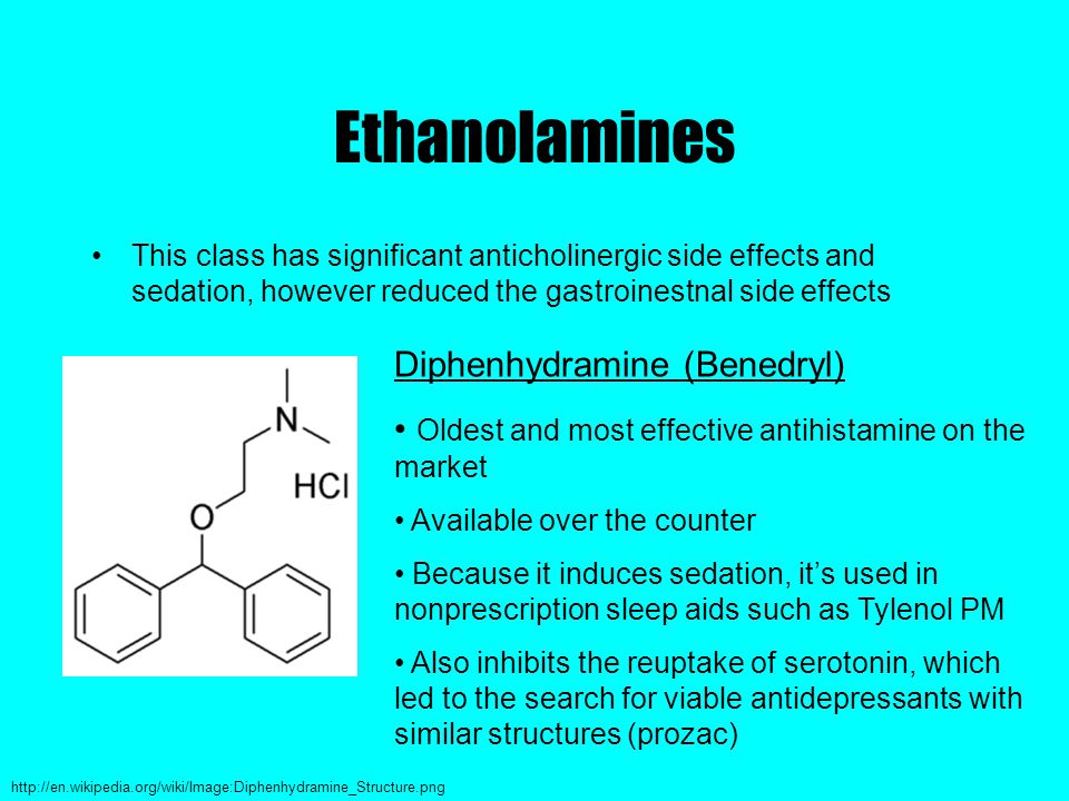 Ethanolamines This class has significant anticholinergic side effects and sedation, however reduced the gastroinestnal side effects Diphenhydramine (Benedryl) Oldest and most effective antihistamine on the market Available over the counter Because it induces sedation, it's used in nonprescription sleep aids such as Tylenol PM Also inhibits the reuptake of serotonin, which led to the search for viable antidepressants with similar structures (prozac) http://en.wikipedia.org/wiki/Image:Diphenhydramine_Structure.png