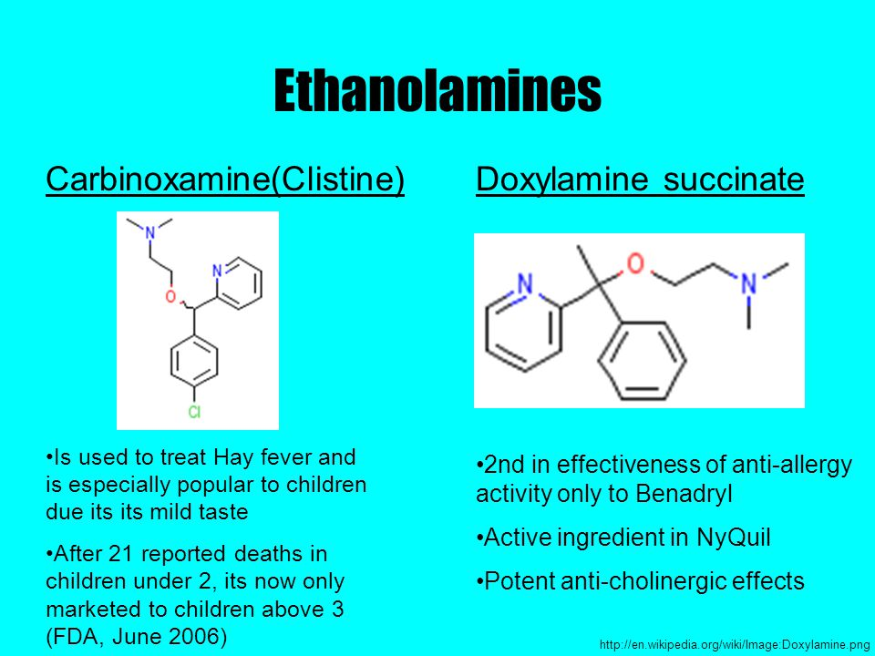 Ethanolamines Carbinoxamine(Clistine)Doxylamine succinate 2nd in effectiveness of anti-allergy activity only to Benadryl Active ingredient in NyQuil Potent anti-cholinergic effects http://en.wikipedia.org/wiki/Image:Doxylamine.png Is used to treat Hay fever and is especially popular to children due its its mild taste After 21 reported deaths in children under 2, its now only marketed to children above 3 (FDA, June 2006)