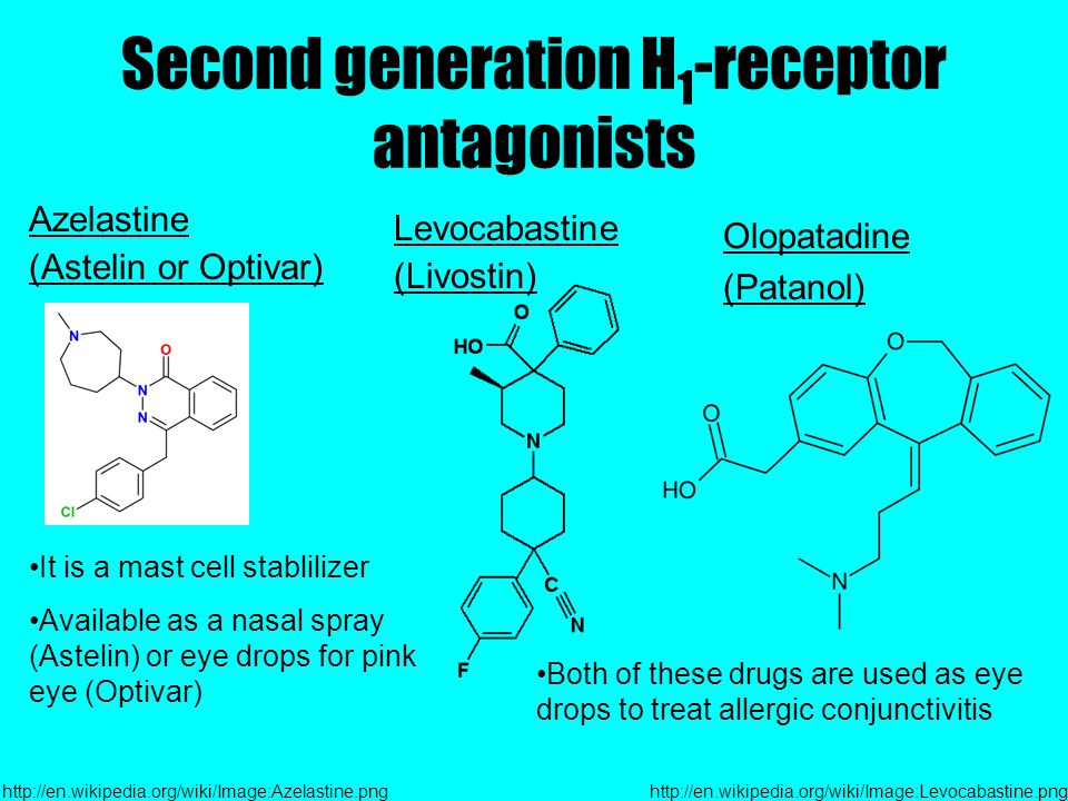 Second generation H 1 -receptor antagonists Azelastine (Astelin or Optivar) Levocabastine (Livostin) http://en.wikipedia.org/wiki/Image:Azelastine.png It is a mast cell stablilizer Available as a nasal spray (Astelin) or eye drops for pink eye (Optivar) http://en.wikipedia.org/wiki/Image:Levocabastine.png Both of these drugs are used as eye drops to treat allergic conjunctivitis Olopatadine (Patanol)