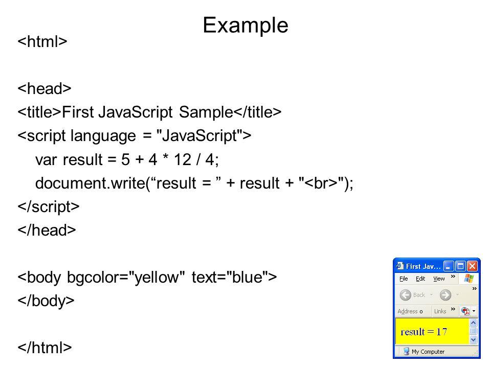 Example First JavaScript Sample var result = 5 + 4 * 12 / 4; document.write( result = + result + );