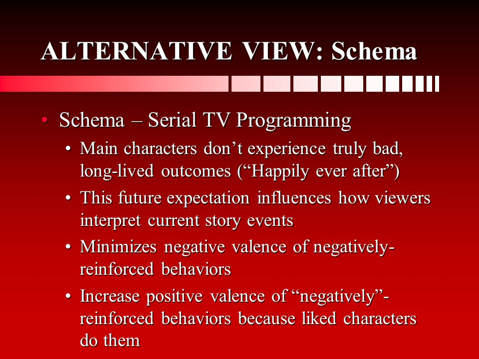 ALTERNATIVE VIEW: Schema Schema – Serial TV ProgrammingSchema – Serial TV Programming Main characters don't experience truly bad, long-lived outcomes ( Happily ever after )Main characters don't experience truly bad, long-lived outcomes ( Happily ever after ) This future expectation influences how viewers interpret current story eventsThis future expectation influences how viewers interpret current story events Minimizes negative valence of negatively- reinforced behaviorsMinimizes negative valence of negatively- reinforced behaviors Increase positive valence of negatively - reinforced behaviors because liked characters do themIncrease positive valence of negatively - reinforced behaviors because liked characters do them