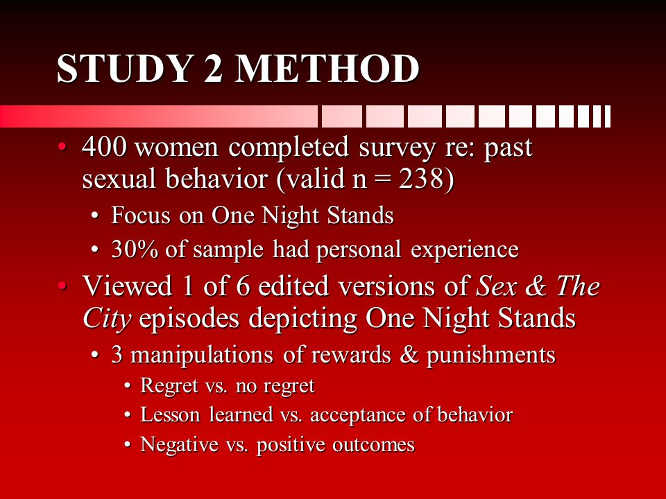 STUDY 2 METHOD 400 women completed survey re: past sexual behavior (valid n = 238)400 women completed survey re: past sexual behavior (valid n = 238) Focus on One Night StandsFocus on One Night Stands 30% of sample had personal experience30% of sample had personal experience Viewed 1 of 6 edited versions of Sex & The City episodes depicting One Night StandsViewed 1 of 6 edited versions of Sex & The City episodes depicting One Night Stands 3 manipulations of rewards & punishments3 manipulations of rewards & punishments Regret vs.