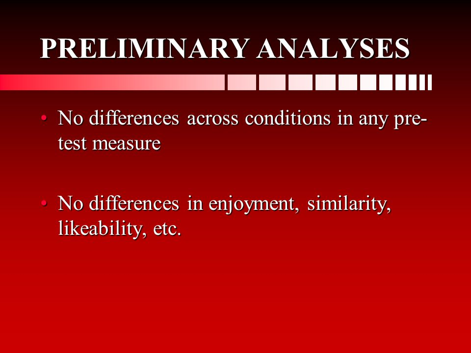 PRELIMINARY ANALYSES No differences across conditions in any pre- test measureNo differences across conditions in any pre- test measure No differences in enjoyment, similarity, likeability, etc.No differences in enjoyment, similarity, likeability, etc.