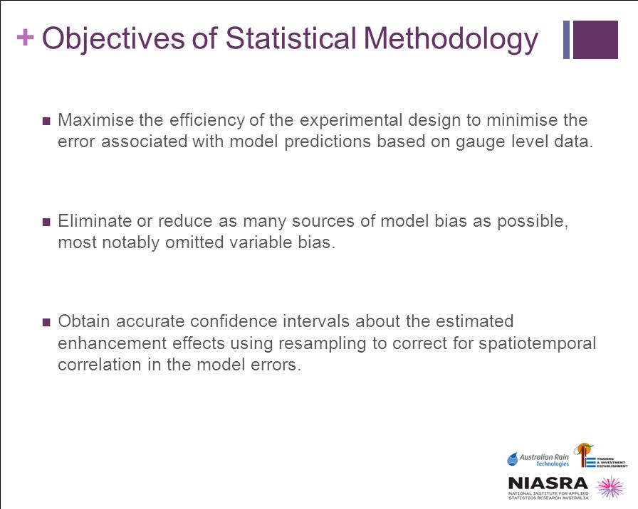 + Objectives of Statistical Methodology Maximise the efficiency of the experimental design to minimise the error associated with model predictions bas