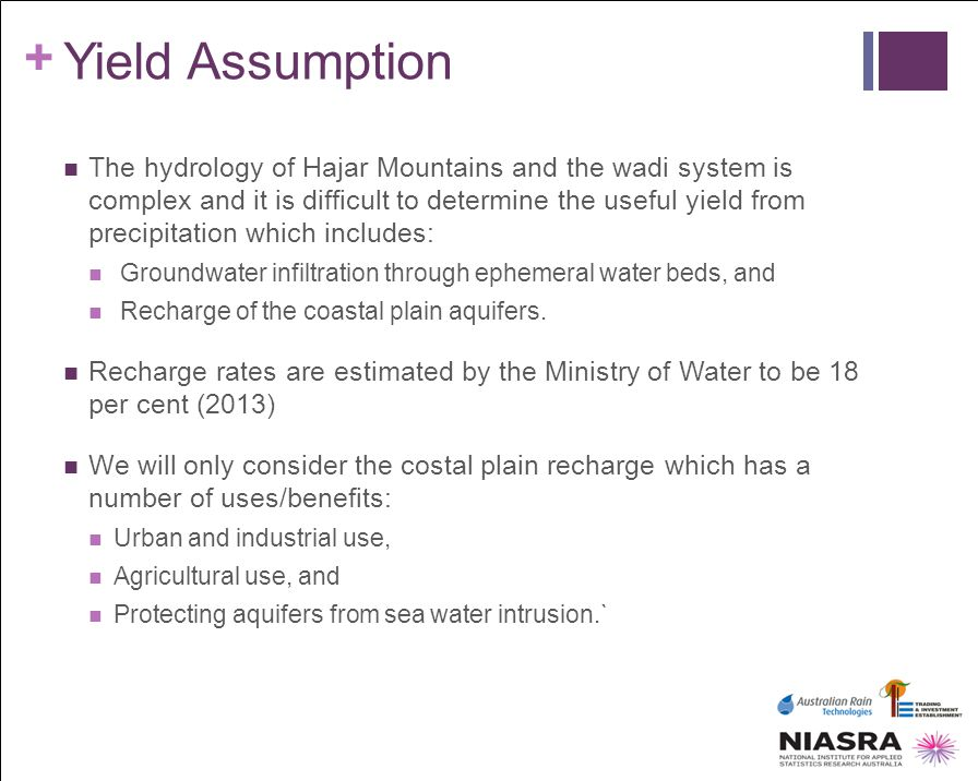 + Yield Assumption The hydrology of Hajar Mountains and the wadi system is complex and it is difficult to determine the useful yield from precipitatio