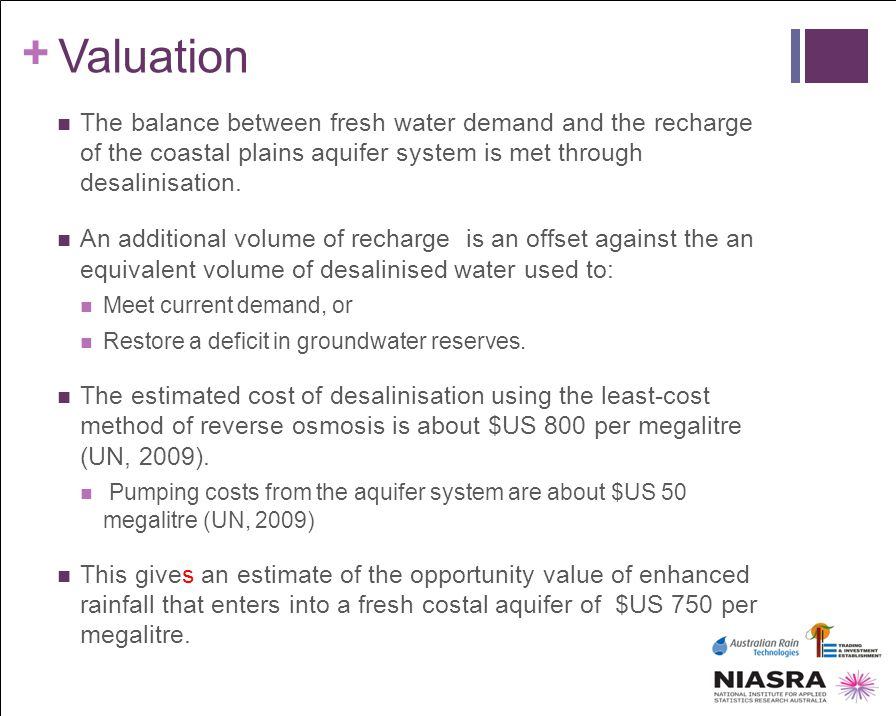 + Valuation The balance between fresh water demand and the recharge of the coastal plains aquifer system is met through desalinisation. An additional