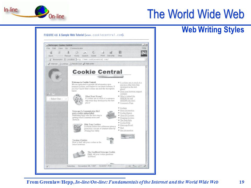 The World Wide Web From Greenlaw/Hepp, In-line/On-line: Fundamentals of the Internet and the World Wide Web 19 Web Writing Styles