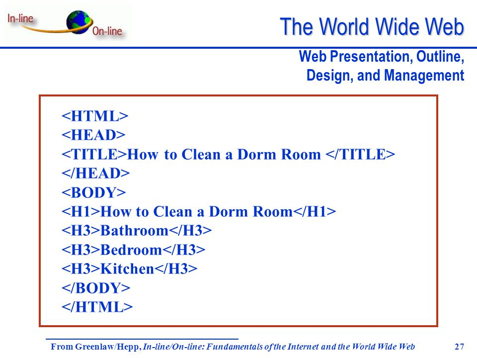 The World Wide Web From Greenlaw/Hepp, In-line/On-line: Fundamentals of the Internet and the World Wide Web 27 Web Presentation, Outline, Design, and Management How to Clean a Dorm Room How to Clean a Dorm Room Bathroom Bedroom Kitchen