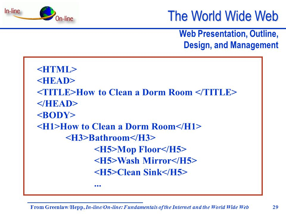 The World Wide Web From Greenlaw/Hepp, In-line/On-line: Fundamentals of the Internet and the World Wide Web 29 Web Presentation, Outline, Design, and Management How to Clean a Dorm Room How to Clean a Dorm Room Bathroom Mop Floor Wash Mirror Clean Sink...