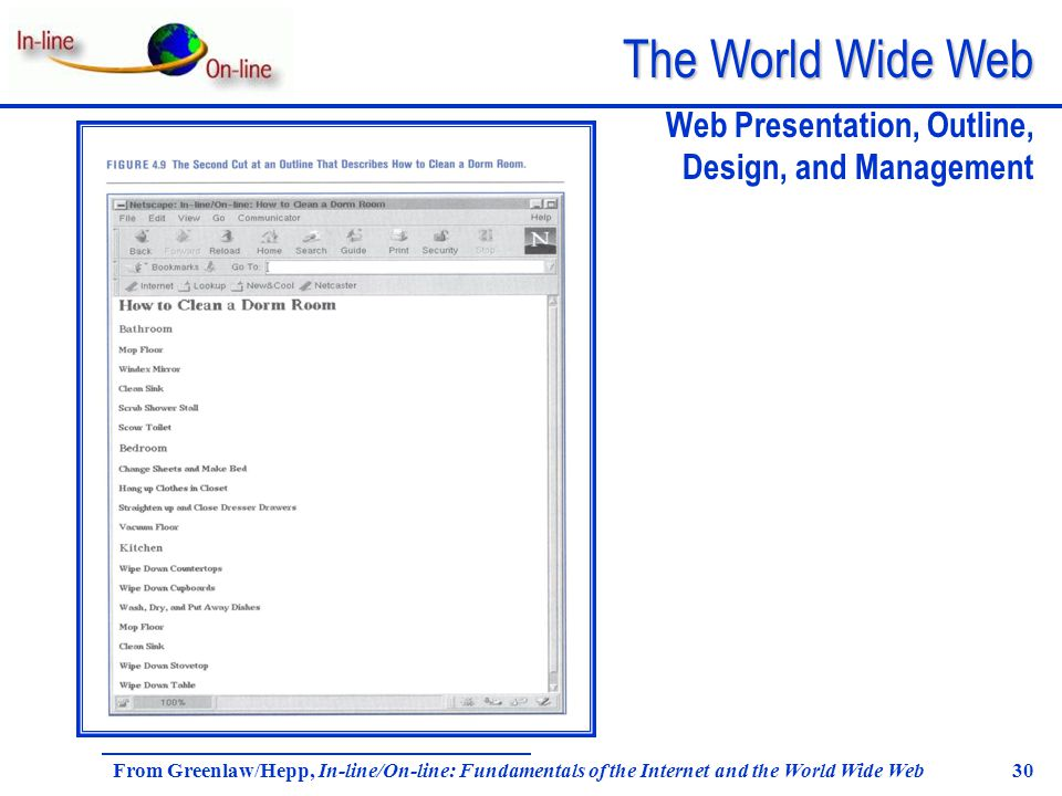 The World Wide Web From Greenlaw/Hepp, In-line/On-line: Fundamentals of the Internet and the World Wide Web 30 Web Presentation, Outline, Design, and