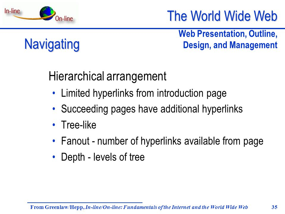 The World Wide Web From Greenlaw/Hepp, In-line/On-line: Fundamentals of the Internet and the World Wide Web 35 Hierarchical arrangement Limited hyperlinks from introduction page Succeeding pages have additional hyperlinks Tree-like Fanout - number of hyperlinks available from page Depth - levels of tree Navigating Web Presentation, Outline, Design, and Management