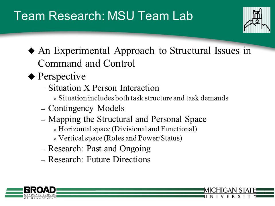 1 Team Research: MSU Team Lab  An Experimental Approach to Structural Issues in Command and Control  Perspective – Situation X Person Interaction »