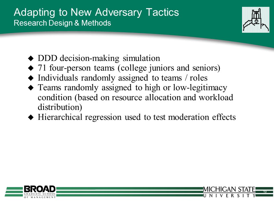 10 Adapting to New Adversary Tactics Research Design & Methods  DDD decision-making simulation  71 four-person teams (college juniors and seniors) 