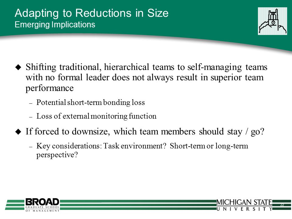 22 Adapting to Reductions in Size Emerging Implications  Shifting traditional, hierarchical teams to self-managing teams with no formal leader does n