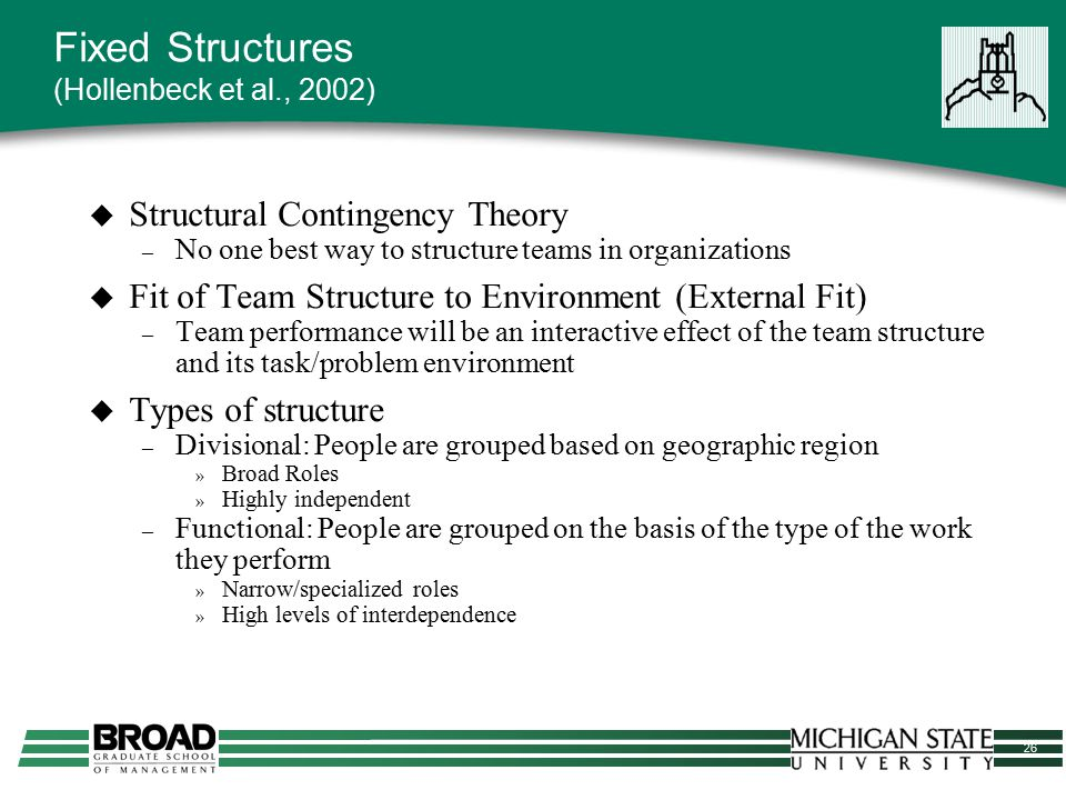 26 Fixed Structures (Hollenbeck et al., 2002)  Structural Contingency Theory – No one best way to structure teams in organizations  Fit of Team Stru