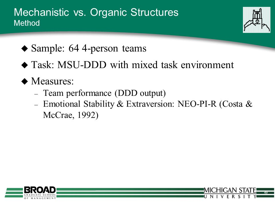 49  Sample: 64 4-person teams  Task: MSU-DDD with mixed task environment  Measures: – Team performance (DDD output) – Emotional Stability & Extrave