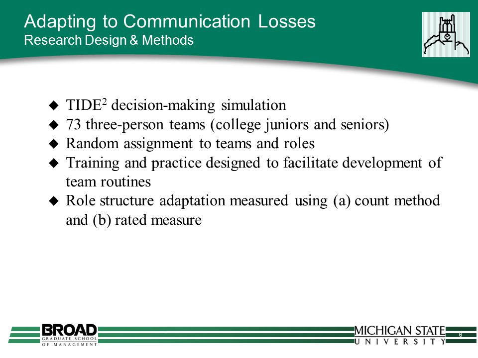 6 Adapting to Communication Losses Research Design & Methods  TIDE 2 decision-making simulation  73 three-person teams (college juniors and seniors)