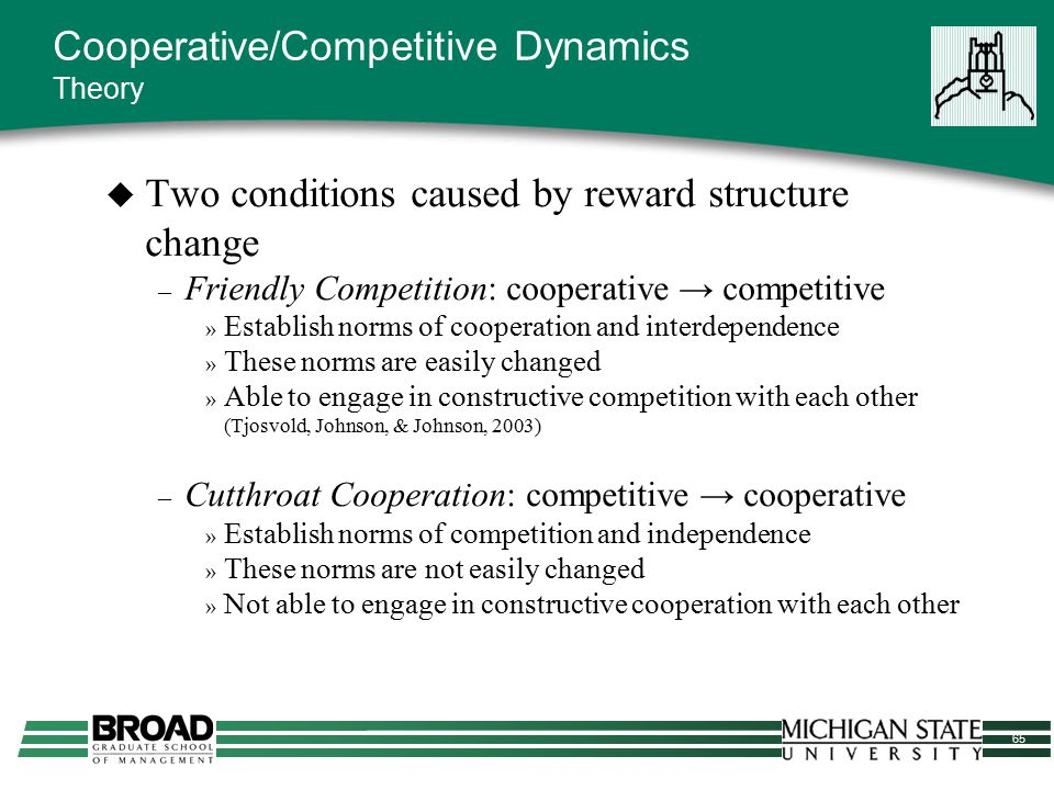 65 Cooperative/Competitive Dynamics Theory  Two conditions caused by reward structure change – Friendly Competition: cooperative → competitive » Esta