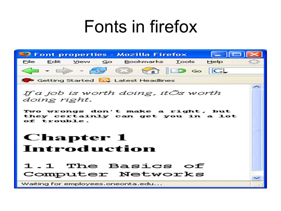 Fonts in firefox