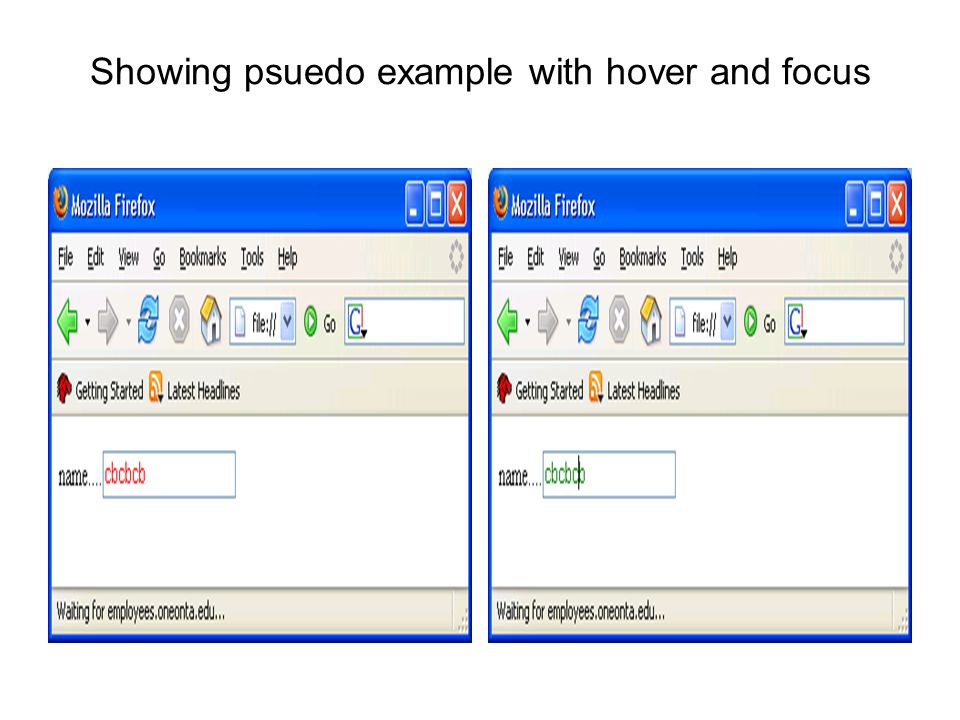 Showing psuedo example with hover and focus