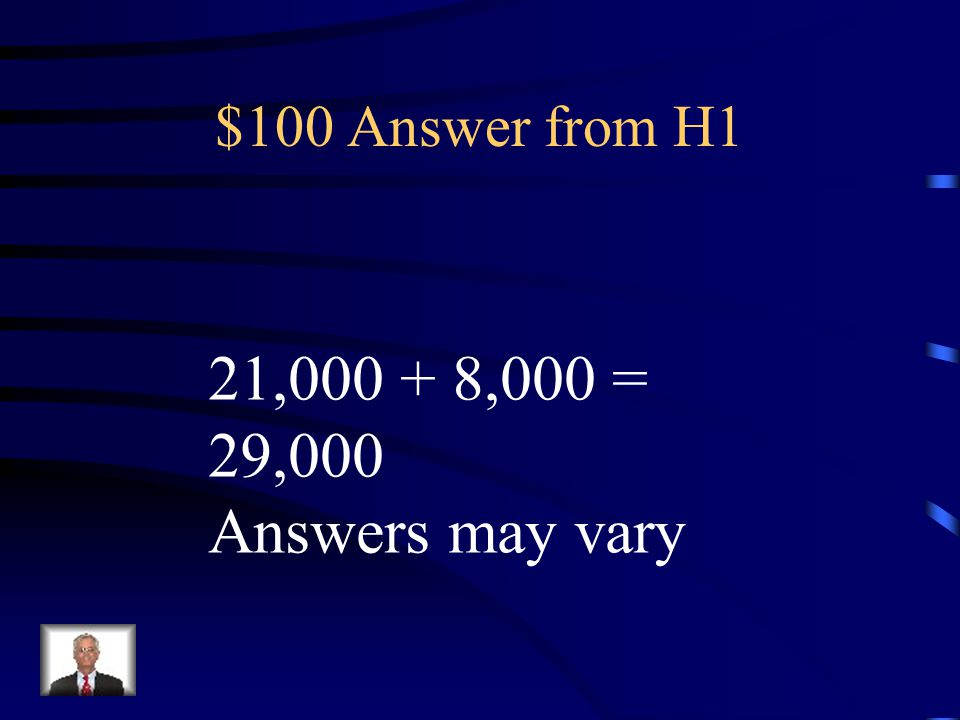 $100 Question from H1 Estimate the sum: 21,643 + 8,390