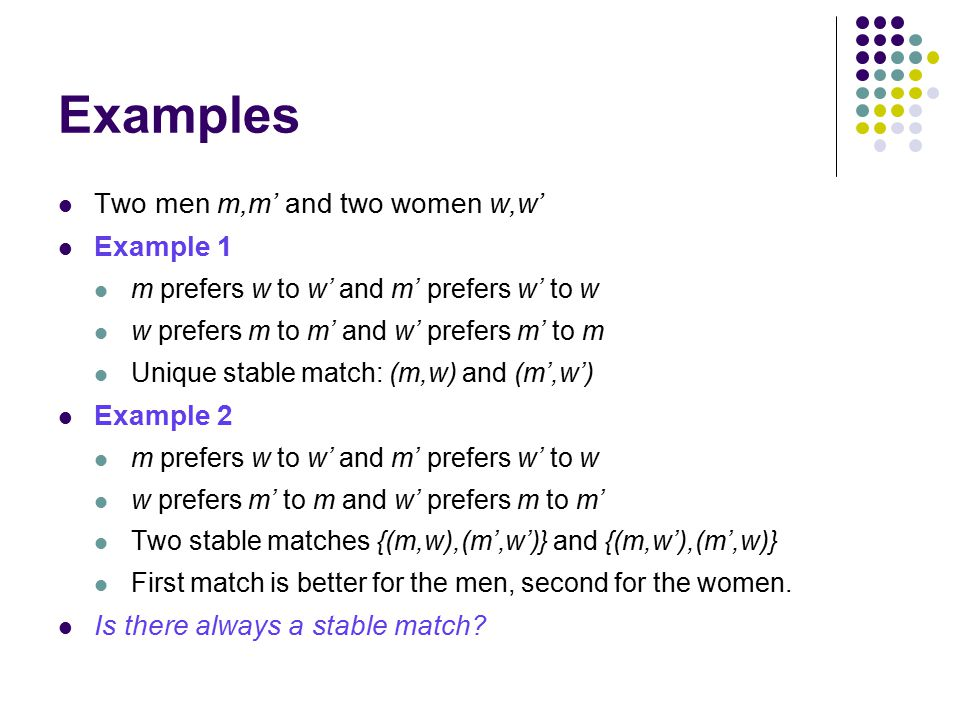 Examples Two men m,m' and two women w,w' Example 1 m prefers w to w' and m' prefers w' to w w prefers m to m' and w' prefers m' to m Unique stable match: (m,w) and (m',w') Example 2 m prefers w to w' and m' prefers w' to w w prefers m' to m and w' prefers m to m' Two stable matches {(m,w),(m',w')} and {(m,w'),(m',w)} First match is better for the men, second for the women.