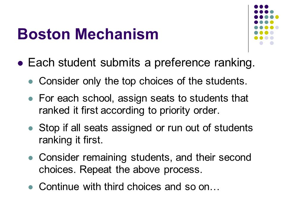 Boston Mechanism Each student submits a preference ranking.