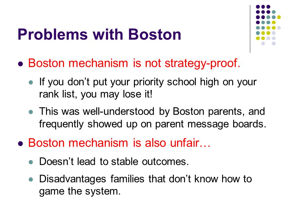 Problems with Boston Boston mechanism is not strategy-proof.