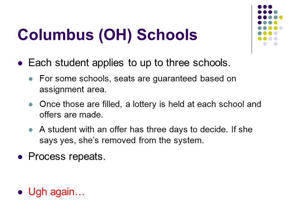 Columbus (OH) Schools Each student applies to up to three schools.