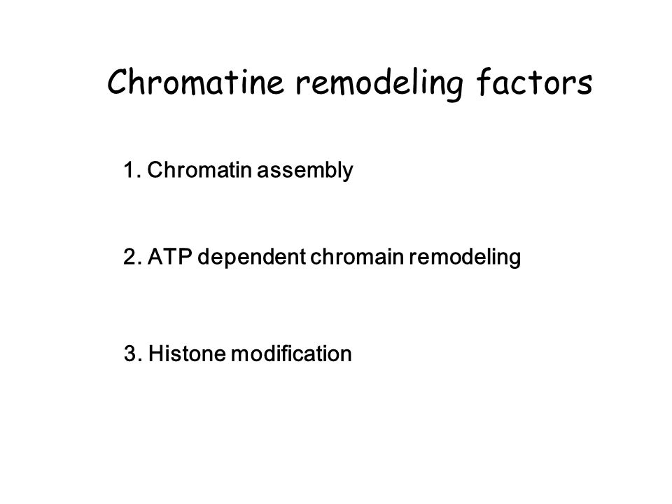 Chromatine remodeling factors 2.ATP dependent chromain remodeling 3.