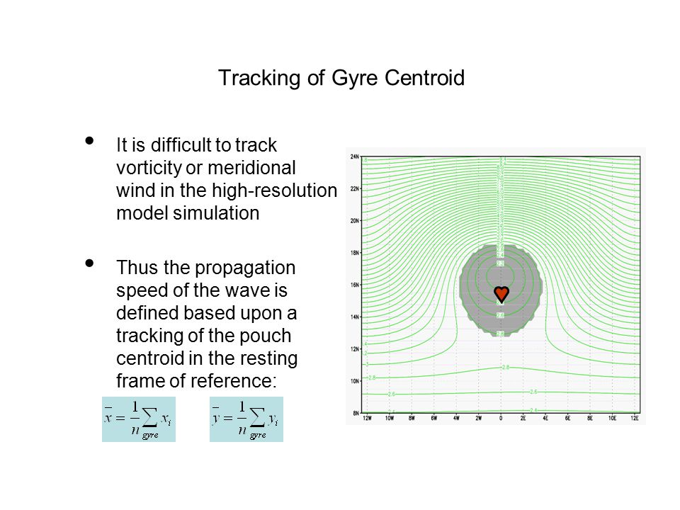 It is difficult to track vorticity or meridional wind in the high-resolution model simulation Thus the propagation speed of the wave is defined based upon a tracking of the pouch centroid in the resting frame of reference: Tracking of Gyre Centroid