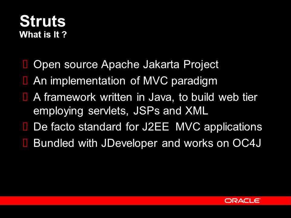 Struts What is It ?  Open source Apache Jakarta Project  An implementation of MVC paradigm  A framework written in Java, to build web tier employin