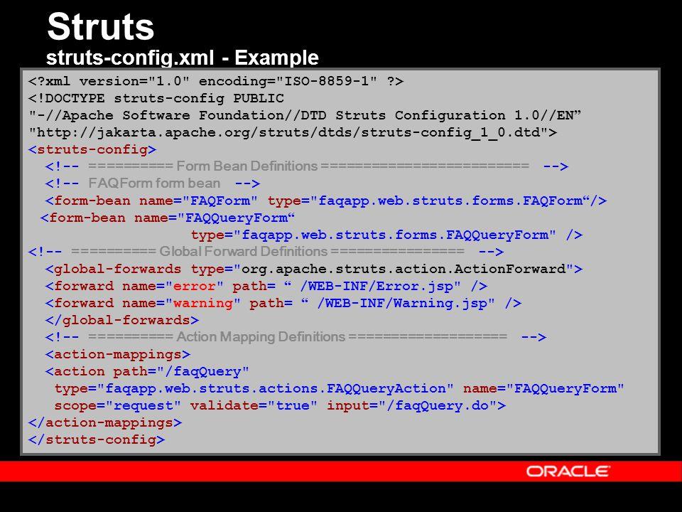 Struts struts-config.xml - Example <!DOCTYPE struts-config PUBLIC