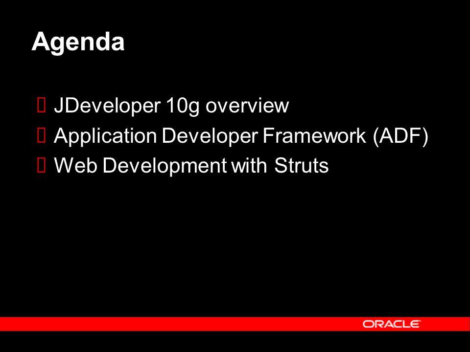 Agenda  JDeveloper 10g overview  Application Developer Framework (ADF)  Web Development with Struts