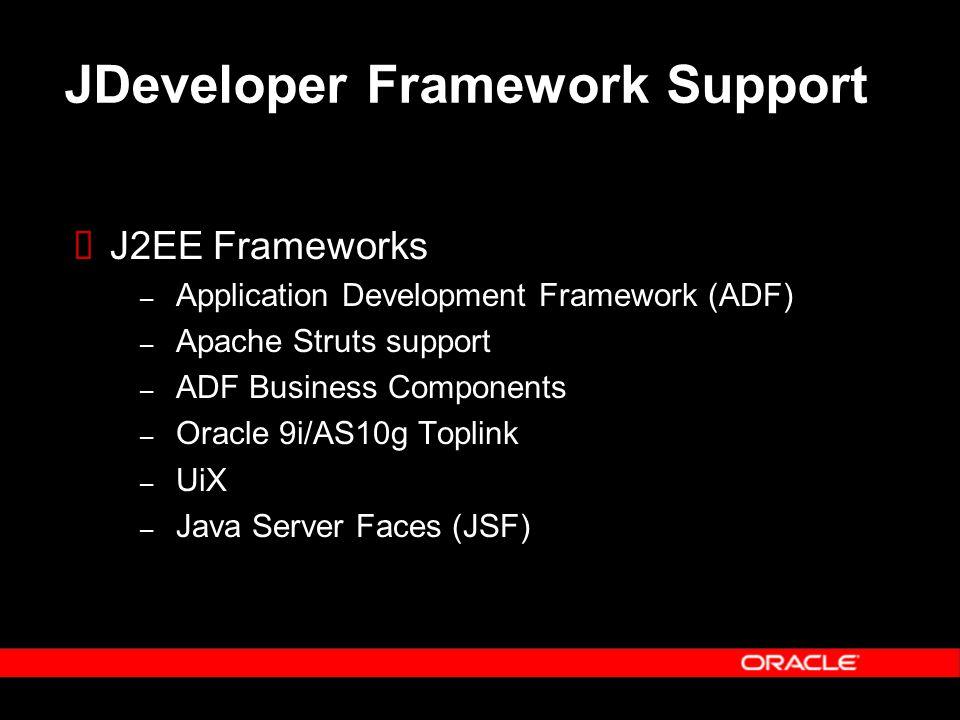 JDeveloper Framework Support  J2EE Frameworks – Application Development Framework (ADF) – Apache Struts support – ADF Business Components – Oracle 9i