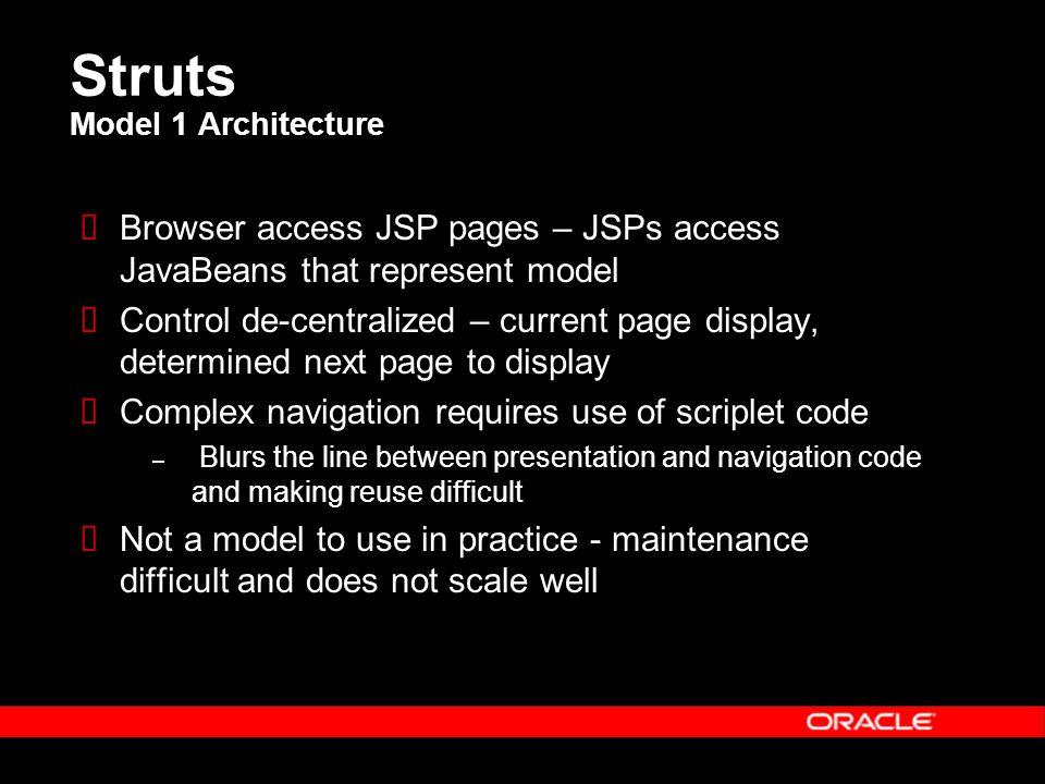 Struts Model 1 Architecture  Browser access JSP pages – JSPs access JavaBeans that represent model  Control de-centralized – current page display, d