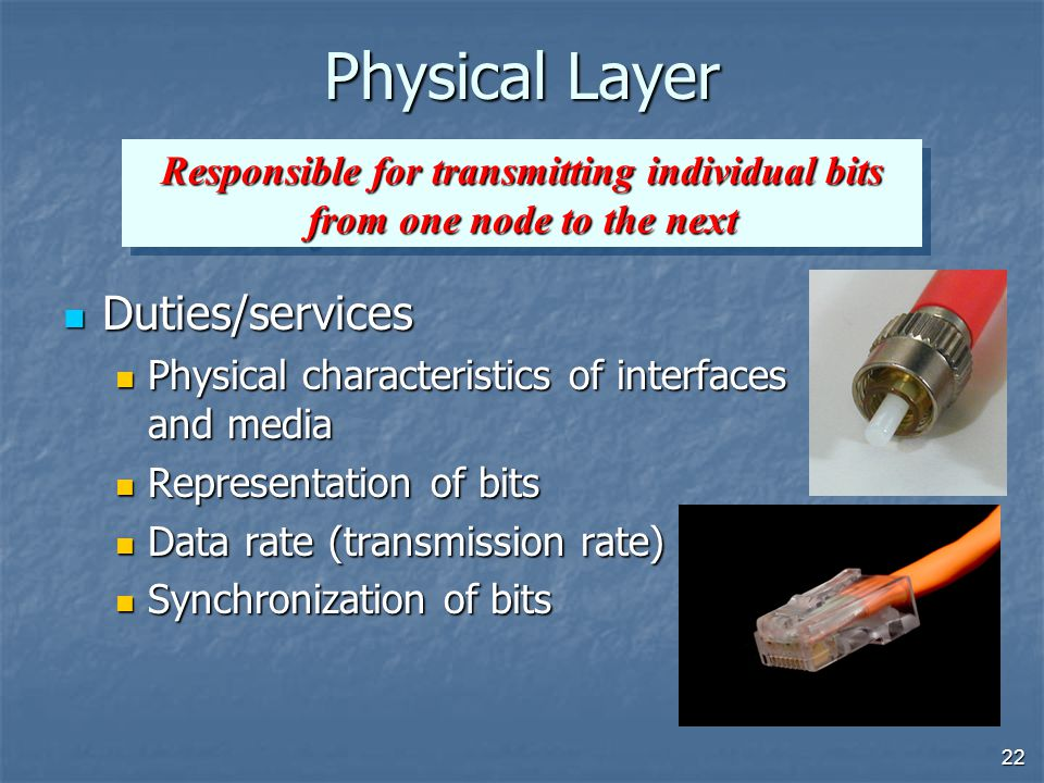 22 Physical Layer Duties/services Duties/services Physical characteristics of interfaces and media Physical characteristics of interfaces and media Representation of bits Representation of bits Data rate (transmission rate) Data rate (transmission rate) Synchronization of bits Synchronization of bits Responsible for transmitting individual bits from one node to the next