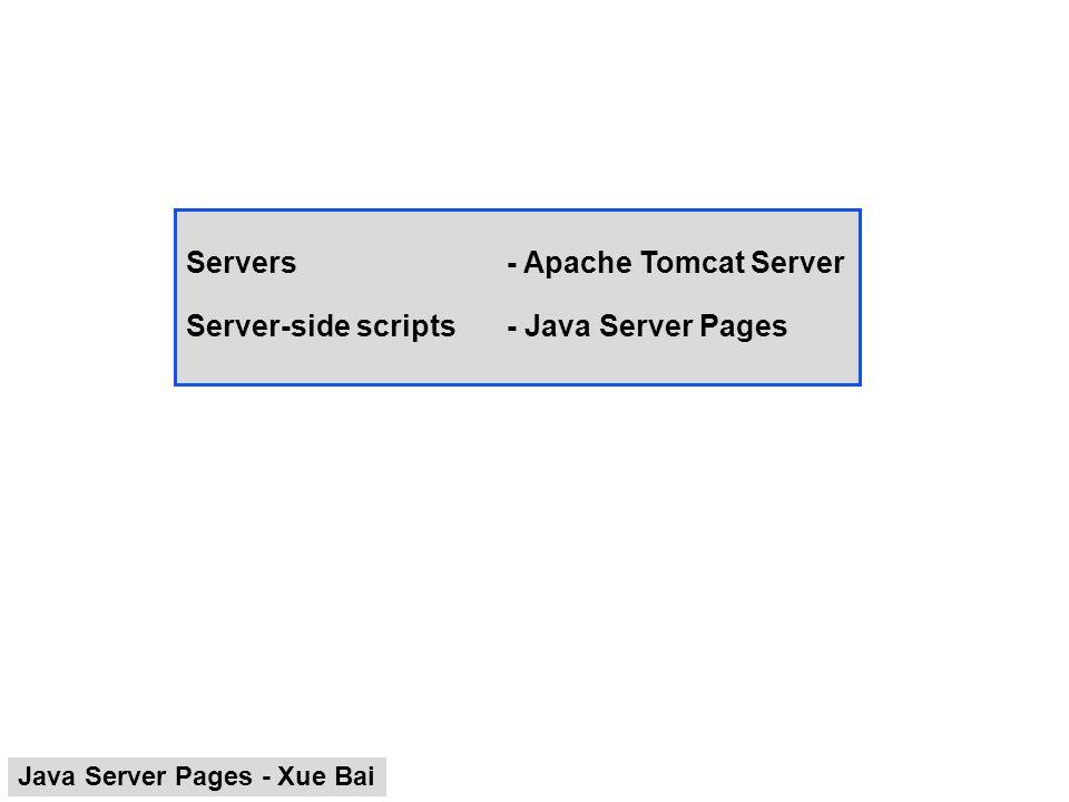 Servers- Apache Tomcat Server Server-side scripts- Java Server Pages Java Server Pages - Xue Bai