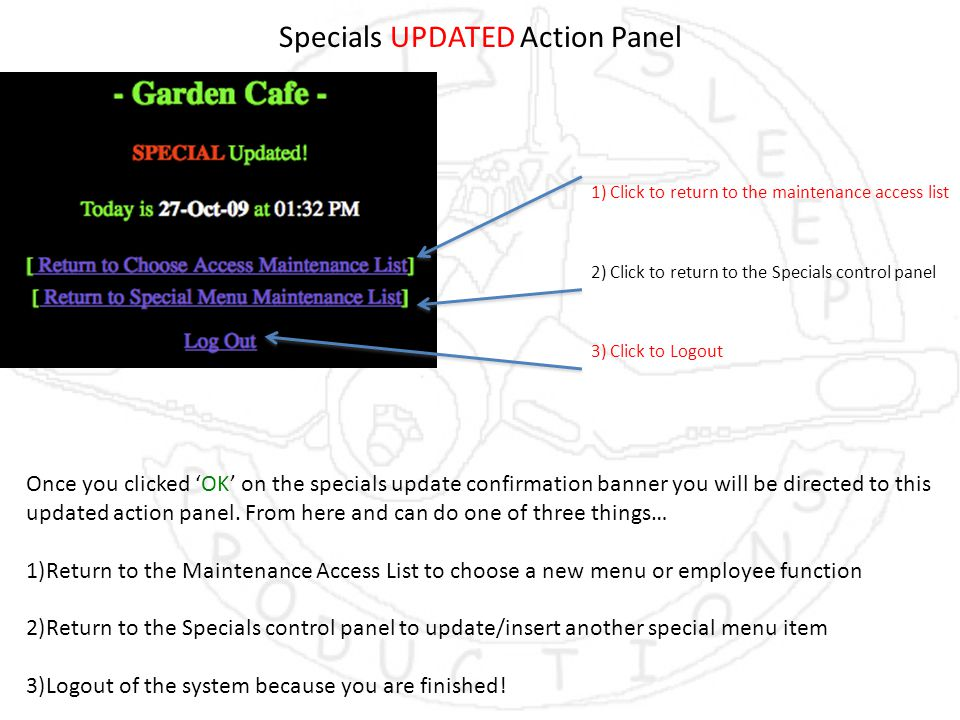 Specials UPDATED Action Panel Once you clicked 'OK' on the specials update confirmation banner you will be directed to this updated action panel.