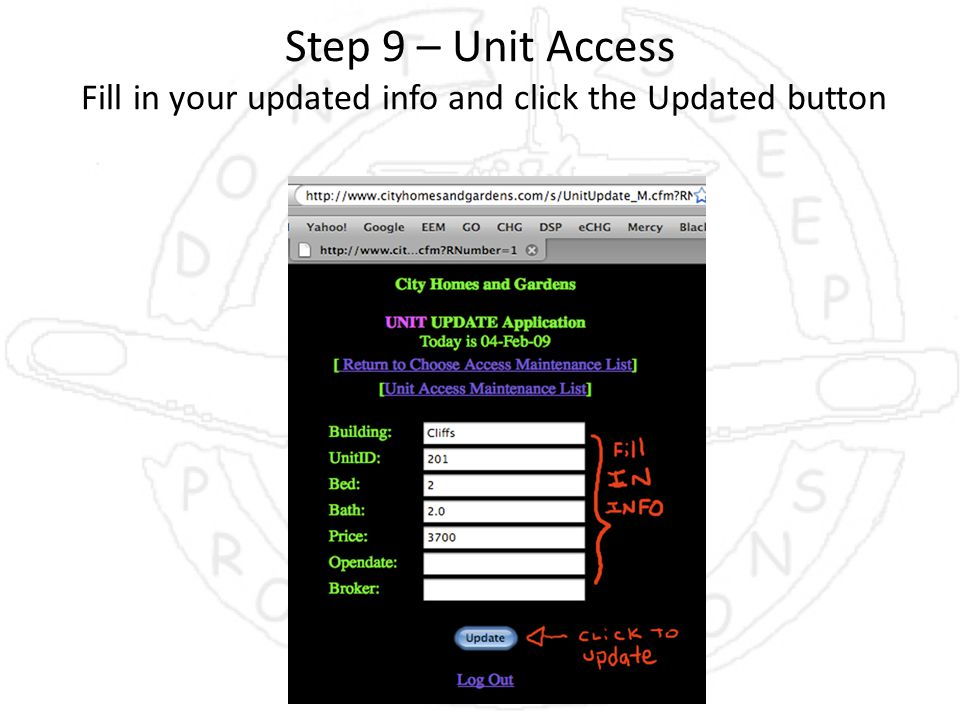 Step 9 – Unit Access Fill in your updated info and click the Updated button