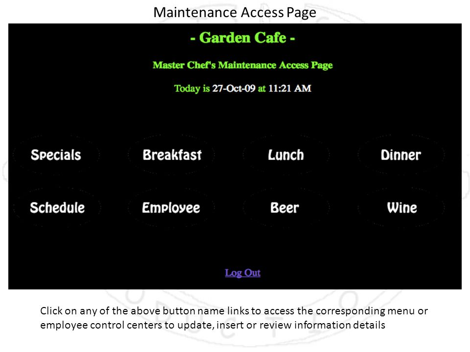 Maintenance Access Page Click on any of the above button name links to access the corresponding menu or employee control centers to update, insert or review information details