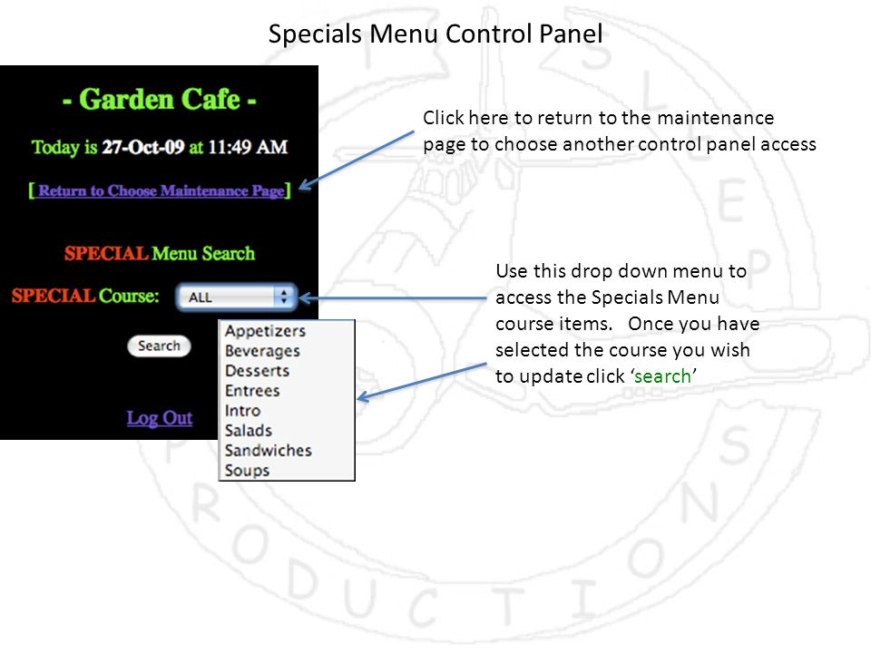 Specials Menu Control Panel Click here to return to the maintenance page to choose another control panel access Use this drop down menu to access the Specials Menu course items.