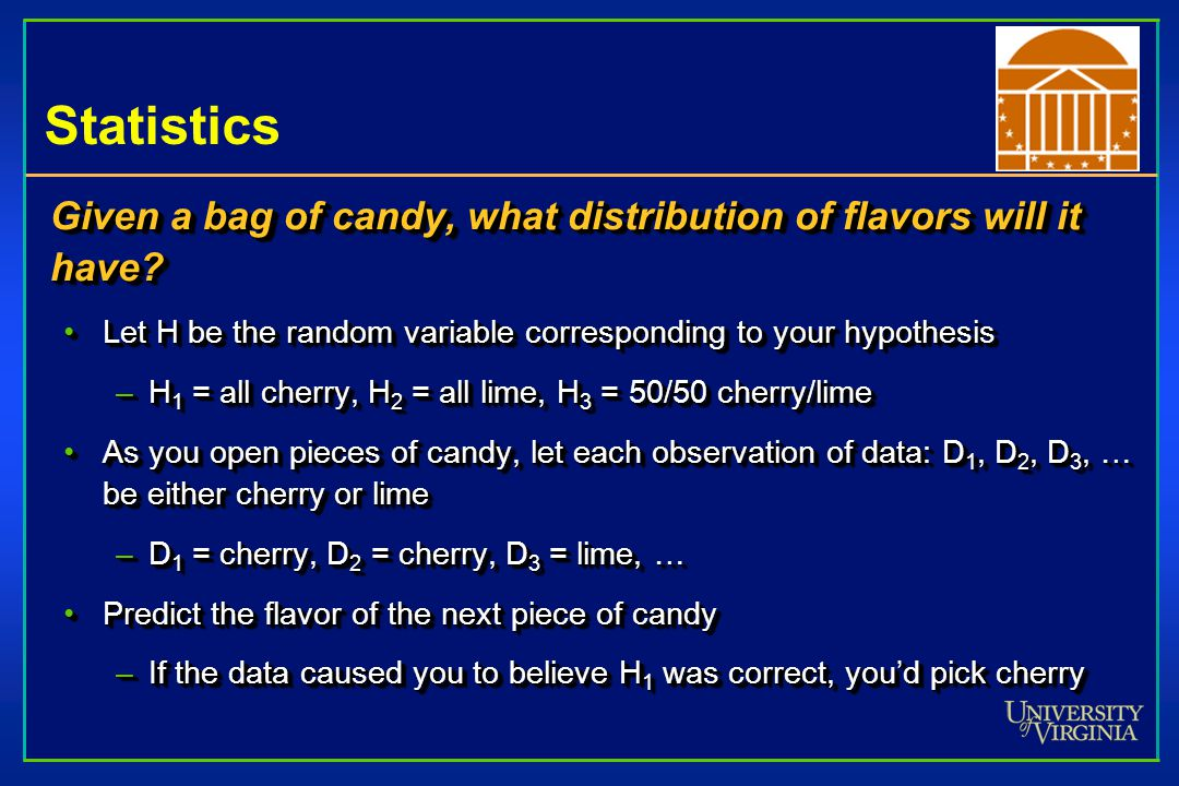 Statistics Given a bag of candy, what distribution of flavors will it have.