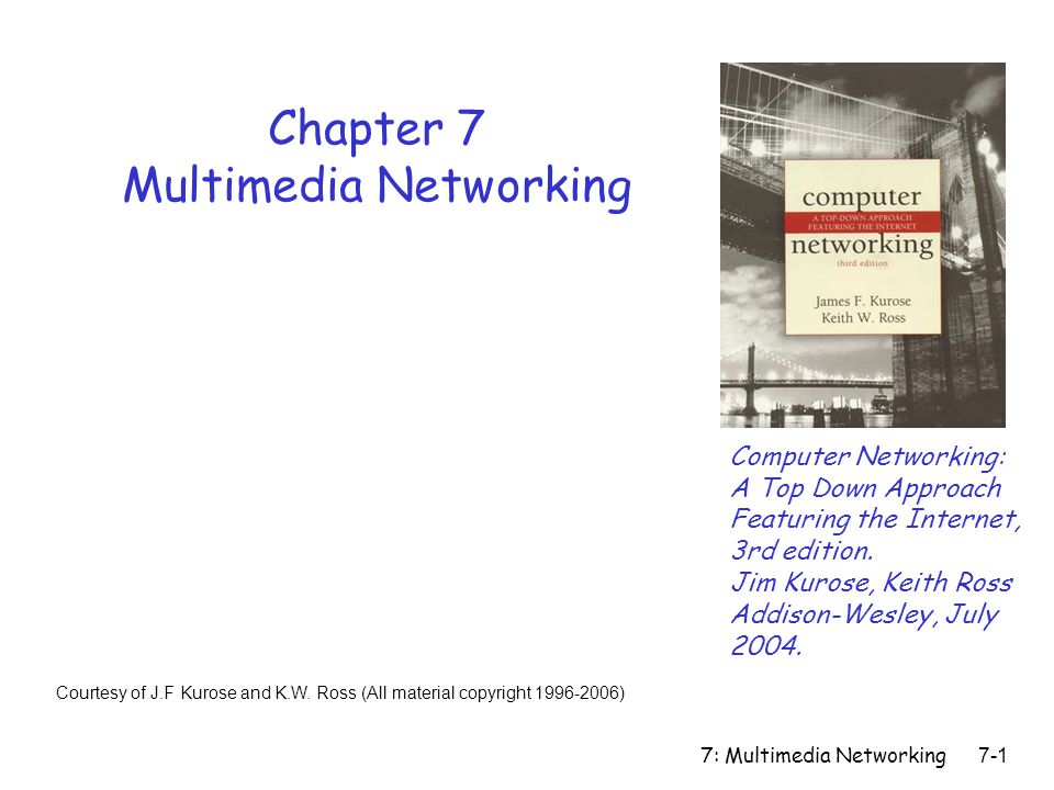 7: Multimedia Networking7-72 Chapter 7 outline r 7.1 Multimedia Networking Applications r 7.2 Streaming stored audio and video r 7.3 Real-time Multimedia: Internet Phone study r 7.4 Protocols for Real- Time Interactive Applications m RTP,RTCP,SIP r 7.5 Distributing Multimedia: content distribution networks r 7.6 Beyond Best Effort r 7.7 Scheduling and Policing Mechanisms r 7.8 Integrated Services and Differentiated Services r 7.9 RSVP