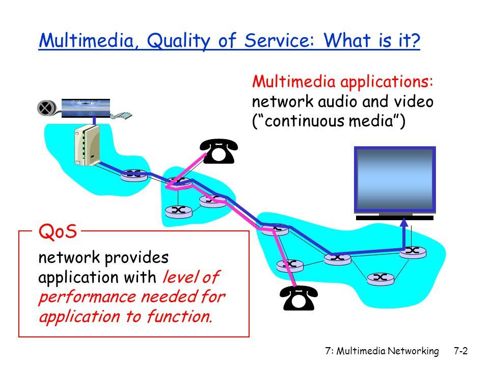 7: Multimedia Networking7-63 SIP Registrar REGISTER sip:domain.com SIP/2.0 Via: SIP/2.0/UDP 193.64.210.89 From: sip:bob@domain.com To: sip:bob@domain.com Expires: 3600 r When Bob starts SIP client, client sends SIP REGISTER message to Bob's registrar server (similar function needed by Instant Messaging) Register Message:
