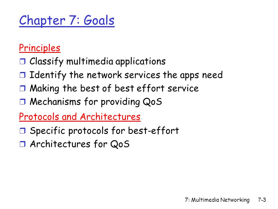 7: Multimedia Networking7-74 Principles for QOS Guarantees r Example: 1MbpsI P phone, FTP share 1.5 Mbps link.