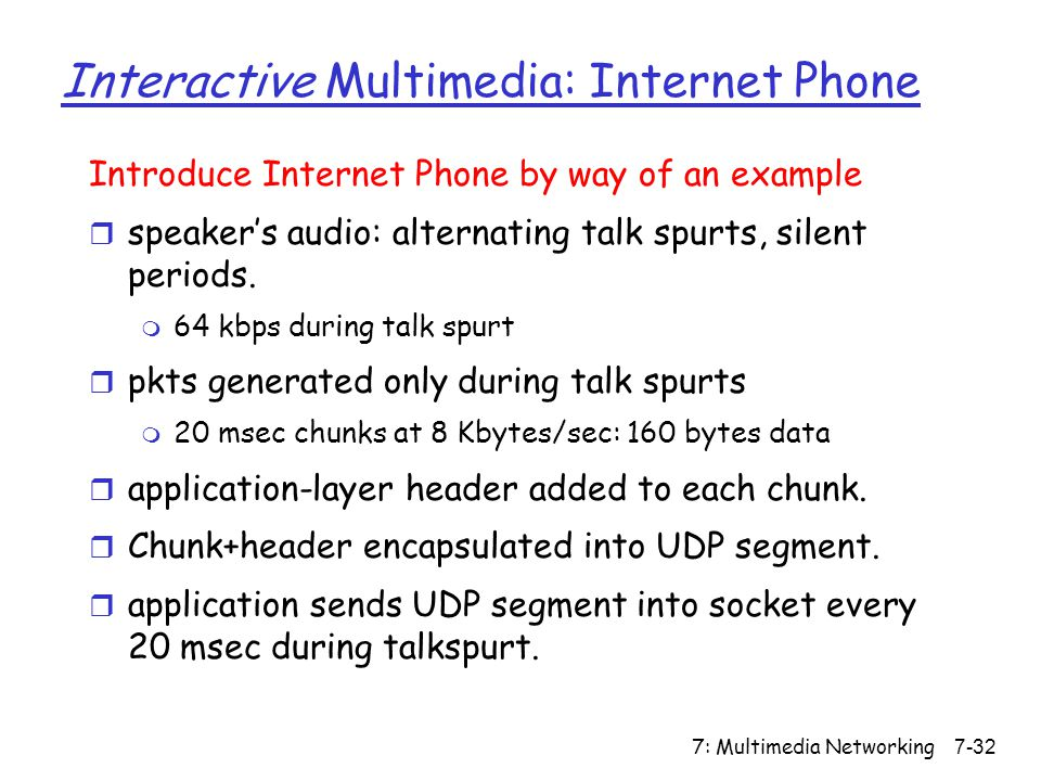 7: Multimedia Networking7-32 Interactive Multimedia: Internet Phone Introduce Internet Phone by way of an example r speaker's audio: alternating talk spurts, silent periods.